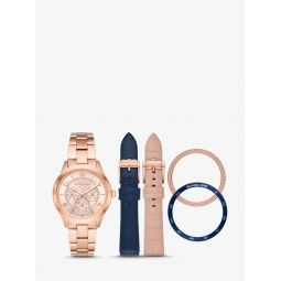 Runway Rose Gold-Tone and Leather Interchangeable Watch Set