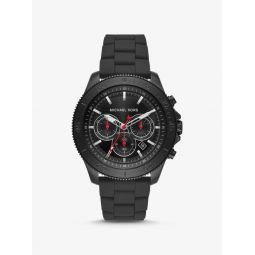 Oversized Cortlandt Black-Tone and Silicone Watch