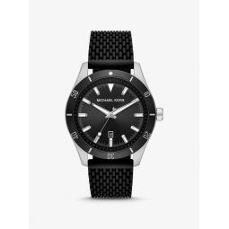 Oversized Layton Silver-Tone and Silicone Watch