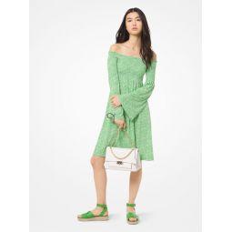 Mini Floral Matte-Jersey Off-the-Shoulder Dress