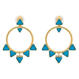 Labyrinth 23K Yellow Gold Plated Teal Swarovski Crystal Clip-On Hoop Earrings