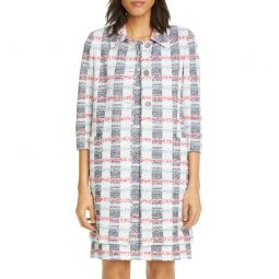 Stripe Tweed Knit Longline Jacket