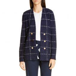Herringbone Grid Knit Jacket