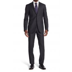 Dark Grey Solid Two Button Notch Lapel Wool Suit