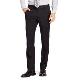 Jetsetter Slim Fit Flat Front Stretch Wool Dress Pants_Black