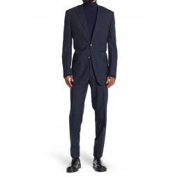 Blue/Black Plaid Two Button Notch Lapel Slim Fit Wool Suit