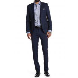 Navy Windowpane Plaid Two Button Notch Lapel Slim Fit Suit