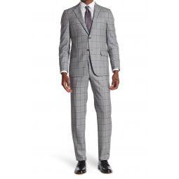 Milburn IIM Series Grey Windowpane Two Button Notch Lapel Wool Suit