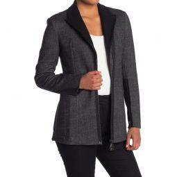 Asymmetrical Zip Double Face Tweed Jacket