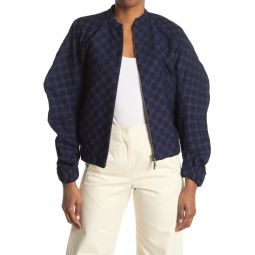 Zero + Maria Cornejo Cuadro Dot Jacquard Organic Cotton Blend Bomber Jacket