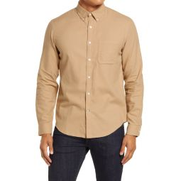 Slim Fit Solid Button-Down Flannel Shirt
