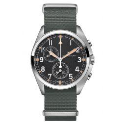 Khaki Aviation Pilot Chronograph Textile Strap Watch, 41mm