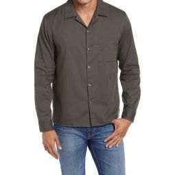 Standard Fit Solid Button-Up Camp Shirt
