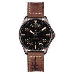 Khaki Aviation Automatic Leather Strap Watch, 42mm