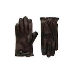 logo bow leather tech gloves
