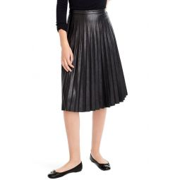 Pleat Faux Leather Midi Skirt