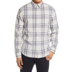 Slim Fit Windowpane Plaid Button-Up Shirt