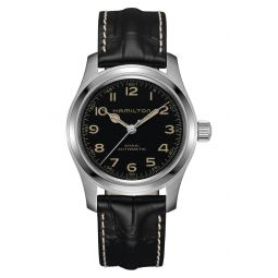 Khaki Field Automatic Leather Strap Watch, 42mm