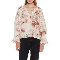 Lace Detail Ruffle Sleeve Blouse