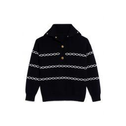 Stripe Shawl Collar Sweater