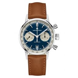 American Classic Automatic Chronograph Leather Strap Watch, 40mm