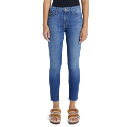 The Double Looker High Waist Fray Hem Ankle Skinny Jeans