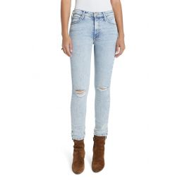 The Mid Rise Dazzler Ripped Ankle Straight Leg Jeans