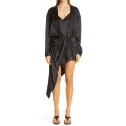 Draped Long Sleeve Hybrid Silk Dress