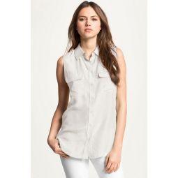 Slim Signature Sleeveless Silk Shirt