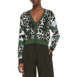 Leopard Jacquard Crop Cardigan
