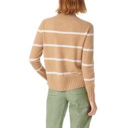 Cashmere Mock Neck Stripe Sweater