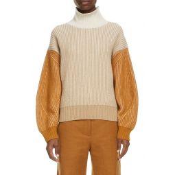 Colorblock Balloon Sleeve Wool Sweater