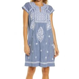 Faith Embroidered Chambray Cover-Up Dress