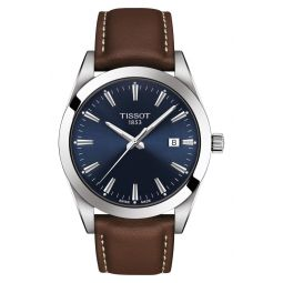 T-Classic Gentleman Leather Strap Watch, 40mm