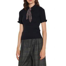 Short Sleeve Tie Sweater