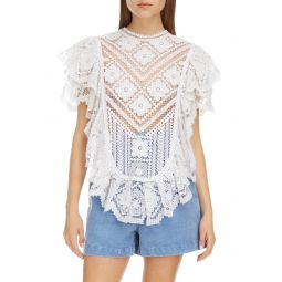 Floral Lace Ruffle Cotton Top