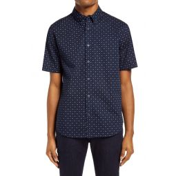 Slim Fit Floral Short Sleeve Button-Down Shirt