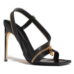 Safety Pin Zipper Square Toe Sandal