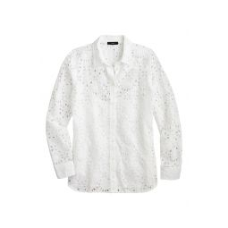 Embroidered Eyelet Long Sleeve Button-Up Shirt