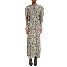 Telenda Dot Print Long Sleeve Midi Dress