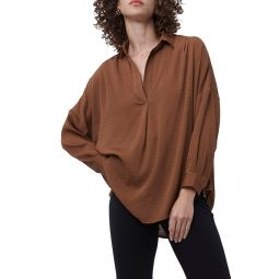 Clar Rhodes Textured Drape Split Neck Shirt