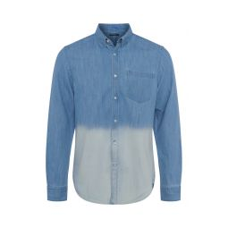 Mens Dip Dye Slub Button-Up Denim Shirt