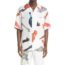 Pascal Print Silk Short Sleeve Button-Up Shirt