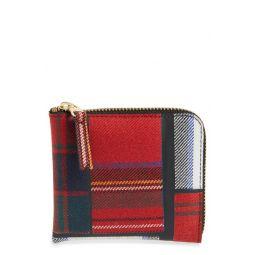 Tartan Patchwork Half Zip French Wallet