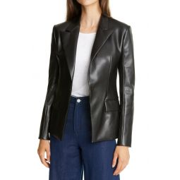 Peaked Lapel Faux Leather Blazer