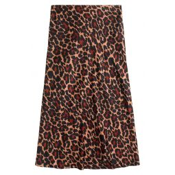 Leopard Print Pull-On Slip Skirt
