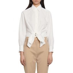 Crop Shirt with Removable Bow