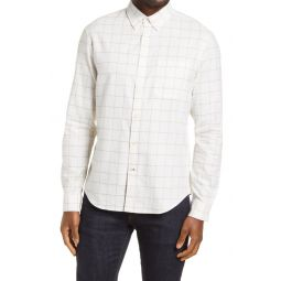 Slim Fit Mens Windowpane Button-Down Flannel Shirt