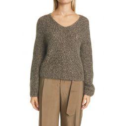 Marled Traveling Rib V-Neck Sweater
