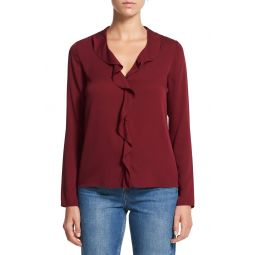 Ruffle Placket Long Sleeve Stretch Silk Blouse